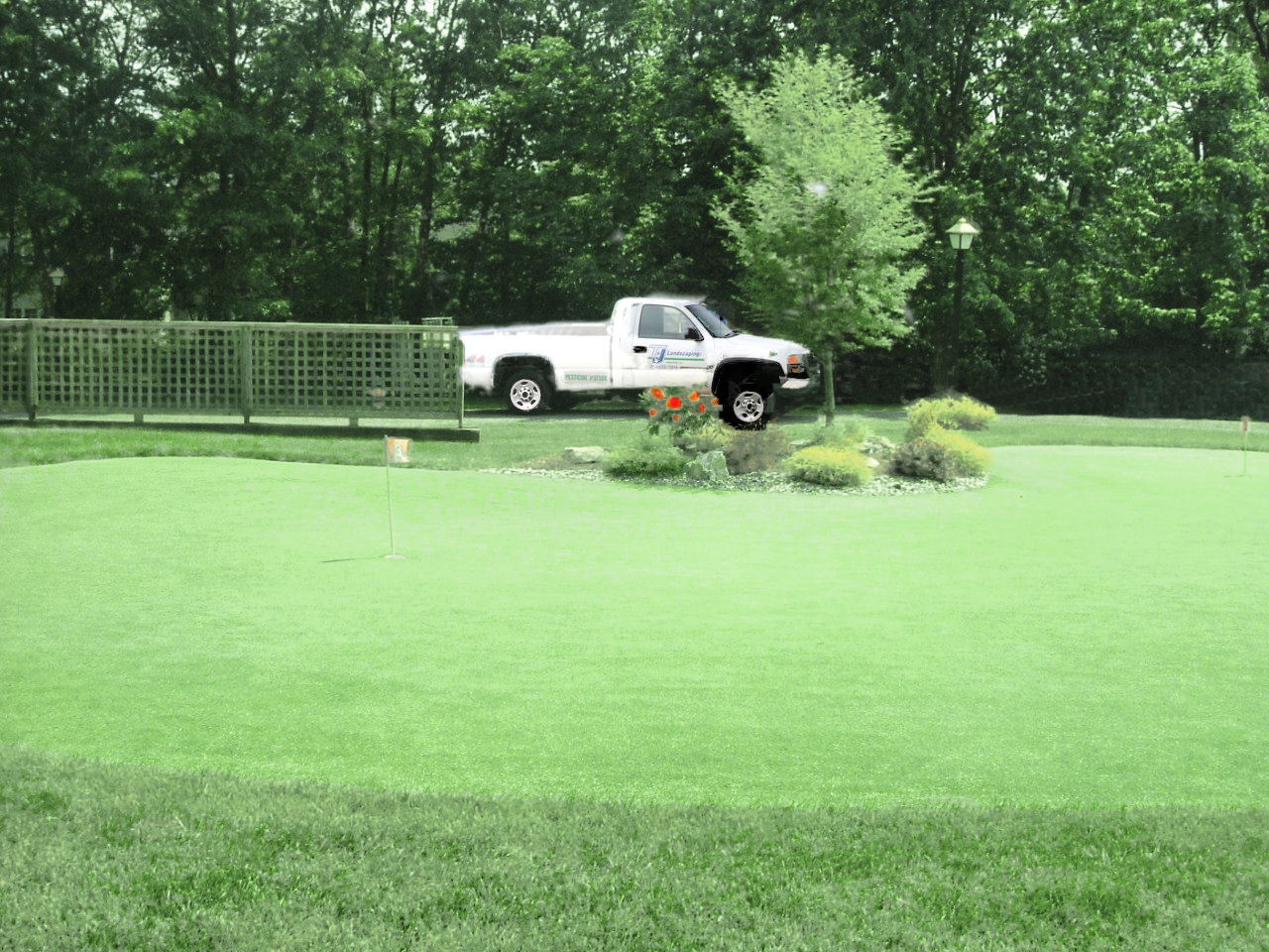 lawn service display on a putting green